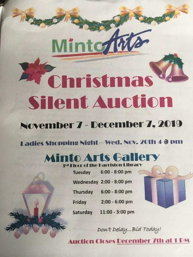 Christmas Silent Auction at the Minto Arts Gallery