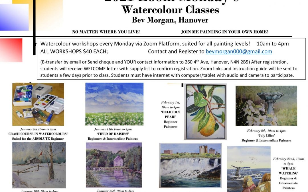 Watercolour Zoom Classes by Bev Morgan